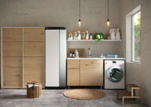 kuchnia z pralką i lodówką