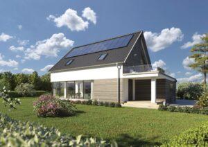 domek z bateriami słonecznymi