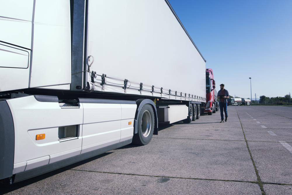 kierowca obok ciężarówki