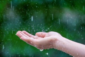 kropla deszczu pada na dłoń
